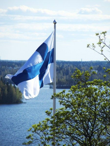 Midsummer, the flag stays in the pole thru  the whole nightless night.   Finland