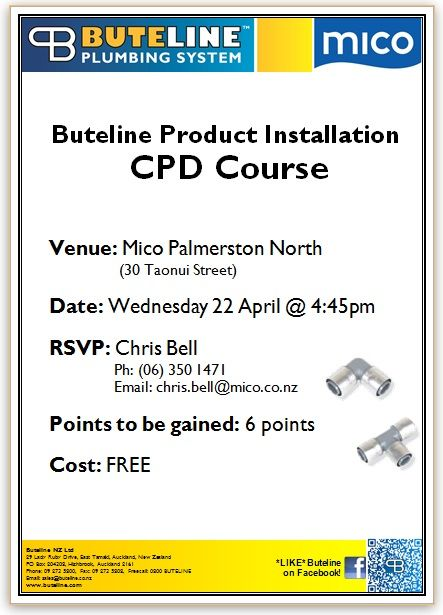 Buteline Product Installation CPD Course @ Mico Palmerston North, New Zealand on Wednesday 22 April 2015!