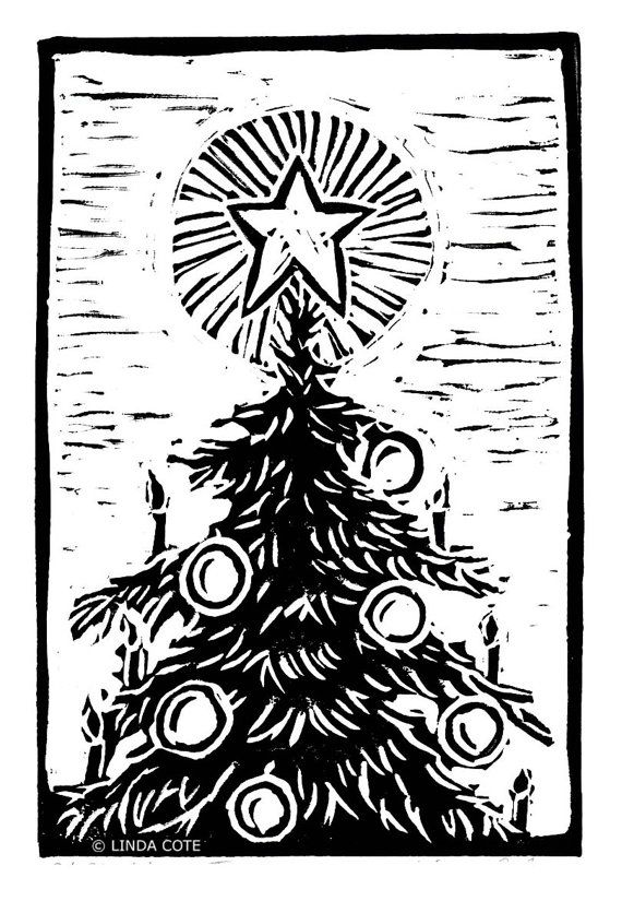 Star Light Star Bright Hand Pulled Lino Relief by LindaCoteStudio, $7.00