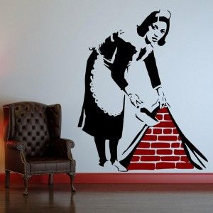 This is a Banksy wall sticker of the iconic street art design know as 'Sweeping it under the carpet' . The Banksy Wall Decal is available in three sizes and can be bought in alternative colours. http://wowwalldecals.com.au/  #Decorative Wall Stickers #Removable Wall Stickers