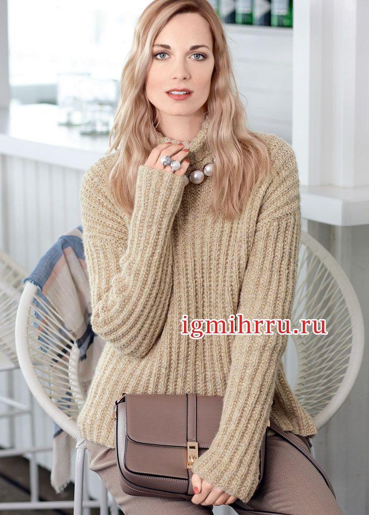 В стиле Oversize. Бежевый свитер в рубчик, из мягкой шерсти альпака. Вязание спицами