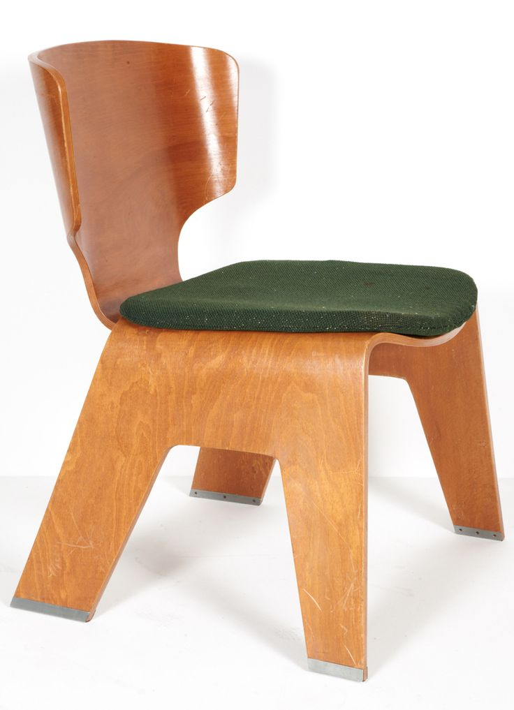 Kenzo Tange; Molded Beech Plywood Chair for Sumi Memorial Hall, 1957.