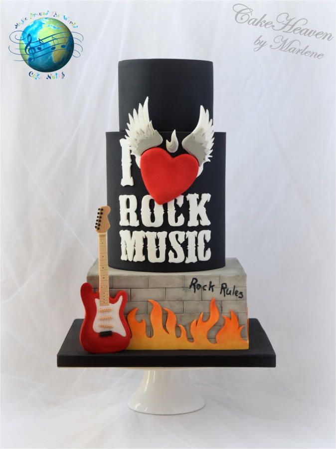 Rock Music Cake - Music Around the World - Cake Notes Collaboration - http://cakesdecor.com/cakes/258503-rock-music-cake-music-around-the-world-cake-notes-collaboration