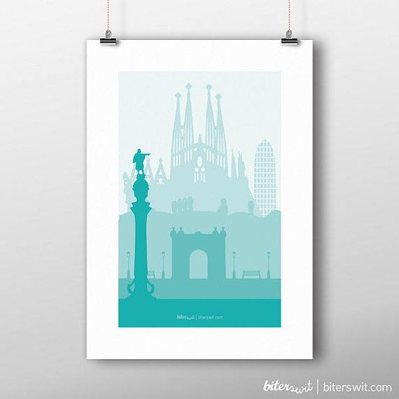Barcelona Minimalist printable art. Poster in blue and turquoise colors of the city of Barcelona. Skyline Barcelona with Sagrada Familia.