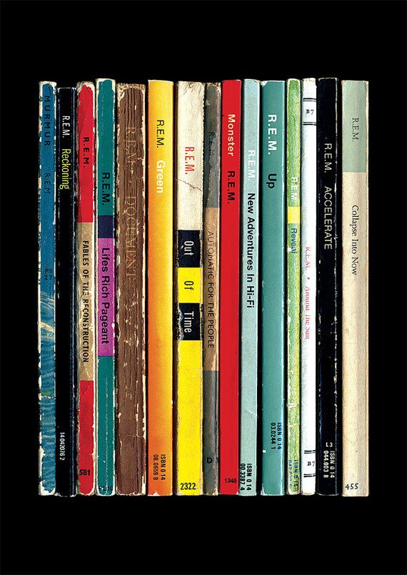 This poster print re-imagines all 15 of REMs main studio albums as a collection of books, as if theyd been written as novels instead of songs.