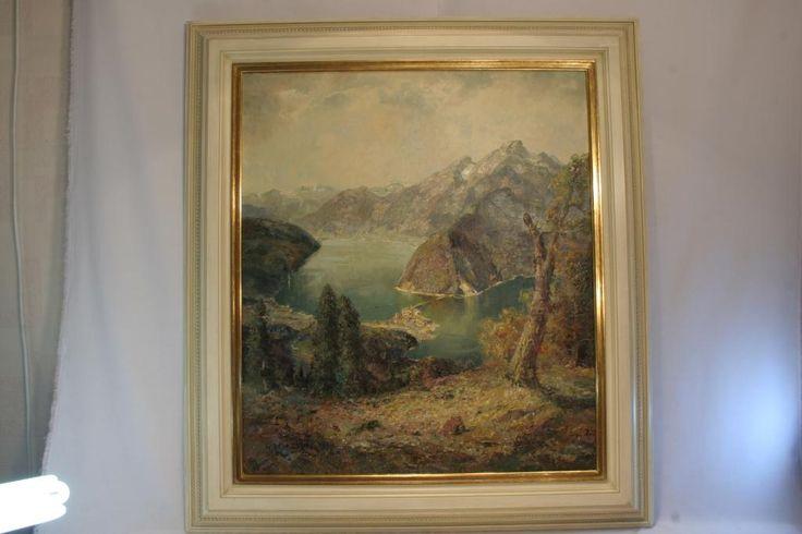 """Людвиг Гшосман (Ludwig Gschossmann), """"Озеро у четырех лесов"""",  80 х 70 см., масло, холст,  багетная рама http://antique-store.com.ua/"""
