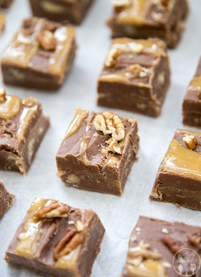 Turtle Fudge - This perfectly creamy chocolate fudge has a delicious caramel and pecan center. Everyone will love it!