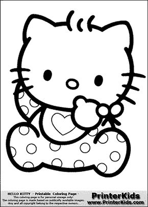 Hello Kitty - Baby in Dots - Coloring Page | Раскраски