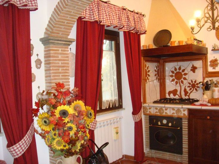 Pi di 25 fantastiche idee su tende della cucina rosse su - Tende rustiche per cucina ...