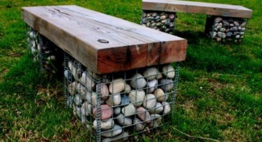 Stone gabion planter baskets walls Garden pots and landscaping ...