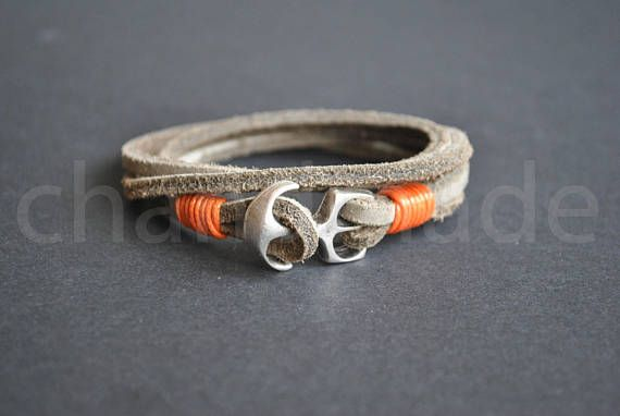 Sand grey leather anchor mens nautical bracelet  sailor