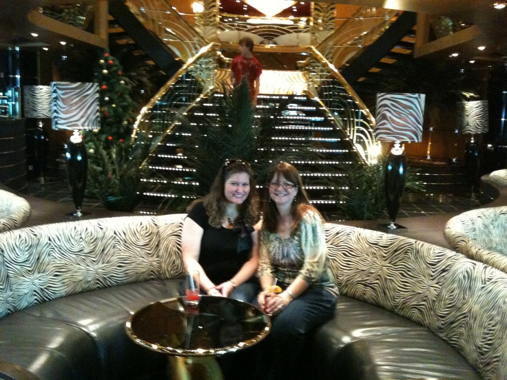 MSC Poesia January 2011 Lisa and Mary in the Zebra Lounge!  We sailed with Tito Puente Jr. and his band...wow they were awesome!