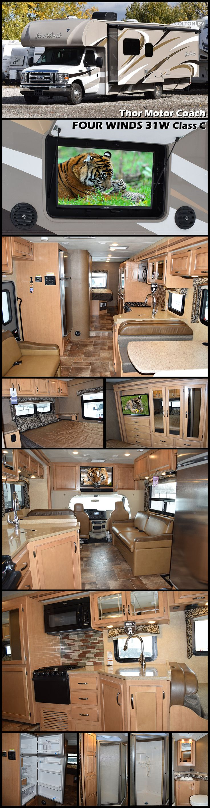 "FOUR WINDS 31W Class C Motorhome by THOR MOTOR COACH has all the conveniences of home. Featuring a large full wall slide, cab over bunk for the kiddies, plus a 40"" swivel TV and rear bedroom with a queen size bed and much more!"