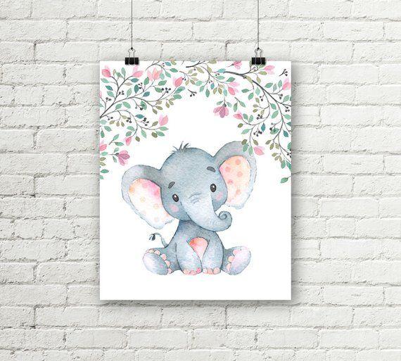 Safari Nursery Print Baby Elephant Flower Art S