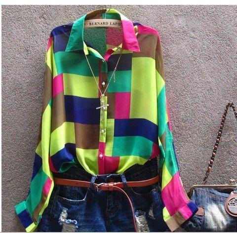 Бесплатная доставка топы 2014 мода женская одежда блузки для леди широкий Большой размер вышитые рубашка женская плед шифон рубашка, принадлежащий категории Блузки и рубашки и относящийся к Одежда и аксессуары на сайте AliExpress.com | Alibaba Group