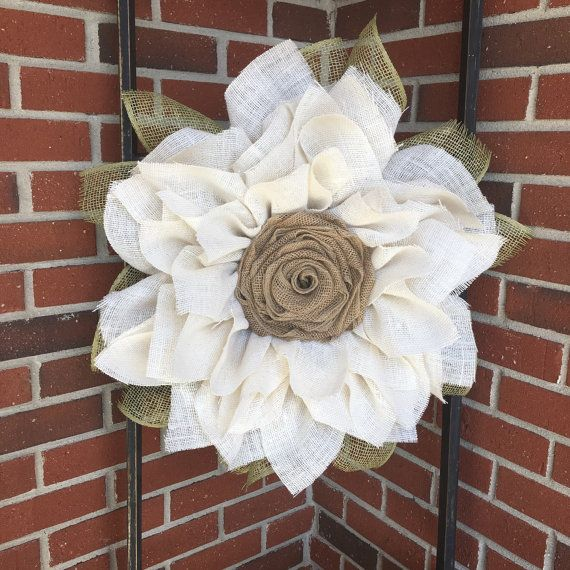 Sunflower Burlap Wreath Ivory Sunflower Wreath Summer