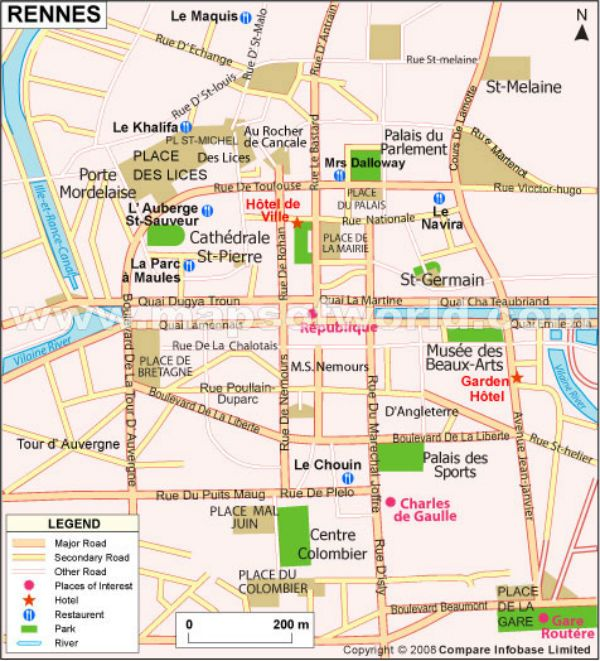 map of rennes france. Black Bedroom Furniture Sets. Home Design Ideas