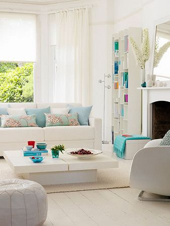 Turquoise living room this room has a mild jetson 39 s feel for White and aqua living room
