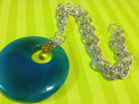 Boho Style Blue Doughnut Necklace with Yellow Faceted Glass Bead Choker on Etsy, $16.95