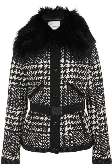 Moncler Grenoble continues to innovate chic, high-quality fabrics with all the performance features you need to stay warm and dry in sub-zero conditions. This 'Mongie' ski jacket is made from lustrous houndstooth jacquard filled with insulating down and feathers, and is finished with a detachable curly shearling collar. Other practical details include windproof gaiters at the hem and wrists, a mesh goggle pocket and zipped pockets for your cell phone and pass.