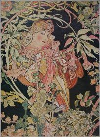tištěná reprodukce, tištěné obrazy, levné obrazy, levné dekorace, abstrakce, restaurace, zahrada, černá, květina, žena, Alfons Mucha, La Margeritte,