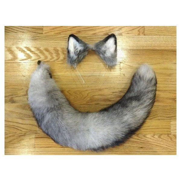 Custom Grey Wolf Ears and XXL Recycled Real Fox Fur Tail ❤ liked on Polyvore featuring accessories