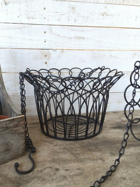 Metal Hanging Basket Iron Wall Decor Distressed Fruit