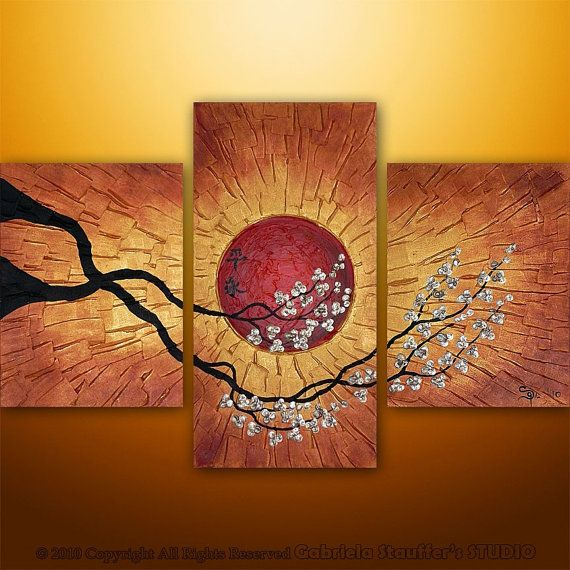 CUSTOM PAINTING 3D Abstract Modern Painting Original Landscape Asian Tree Art by Gabriela 36x24 LARGE