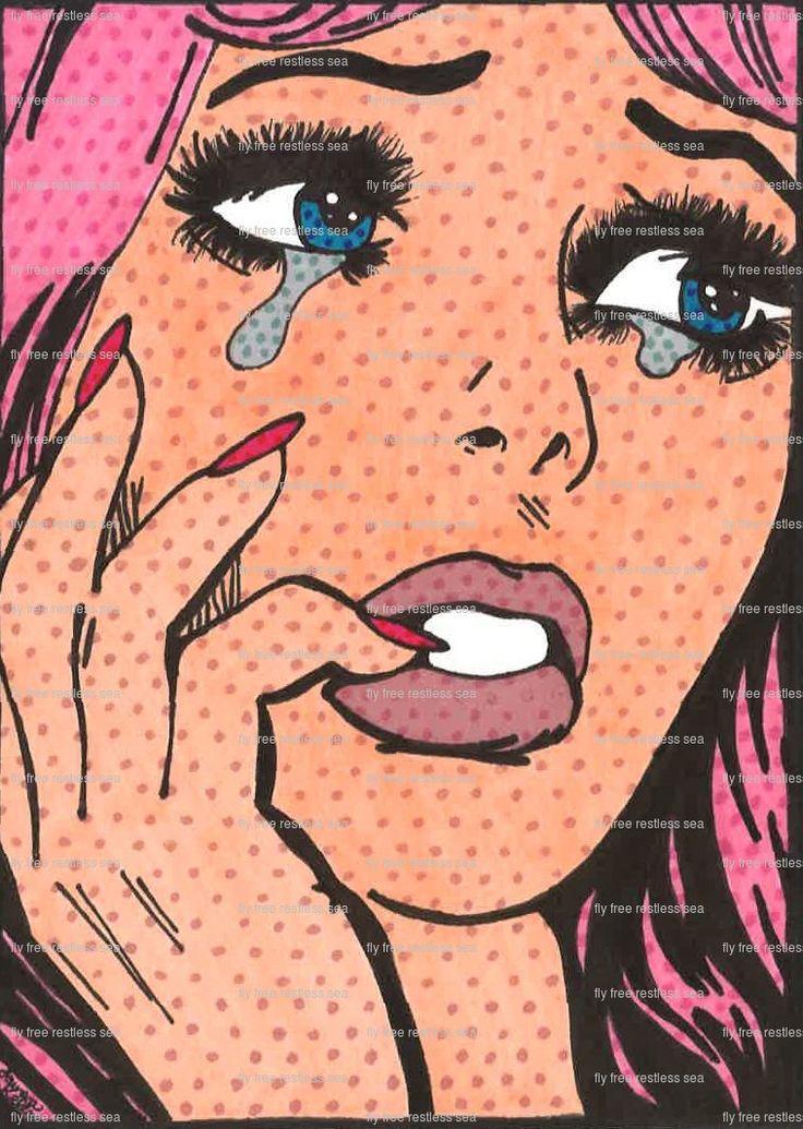 "Print of drawing ""...her?"": A ben day dot pop art crying girl by flyfreerestlesssea on Etsy https://www.etsy.com/listing/219495966/print-of-drawing-her-a-ben-day-dot-pop"