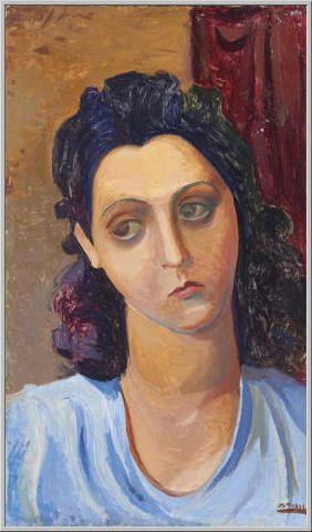 Mario Tozzi 1944: Volto di Donna. Tempera su Tavola cm.(47x27) Collezione Privata Archivio numero 2409.