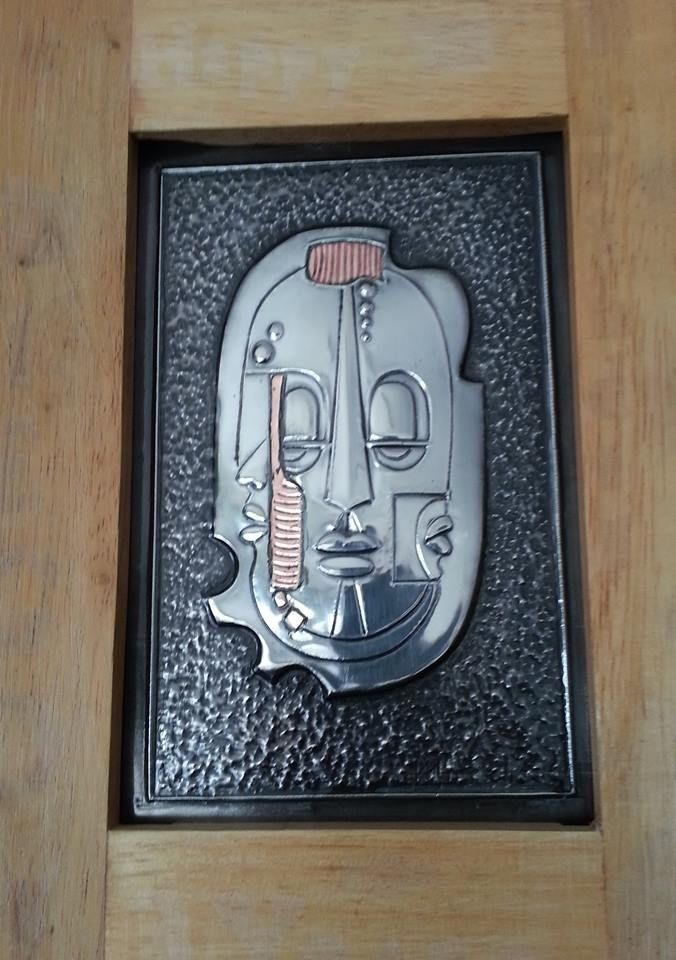 African Mask in Wooden Frame with Copper Patina