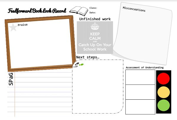 A feedforward template sheet to let pupils know their next steps.