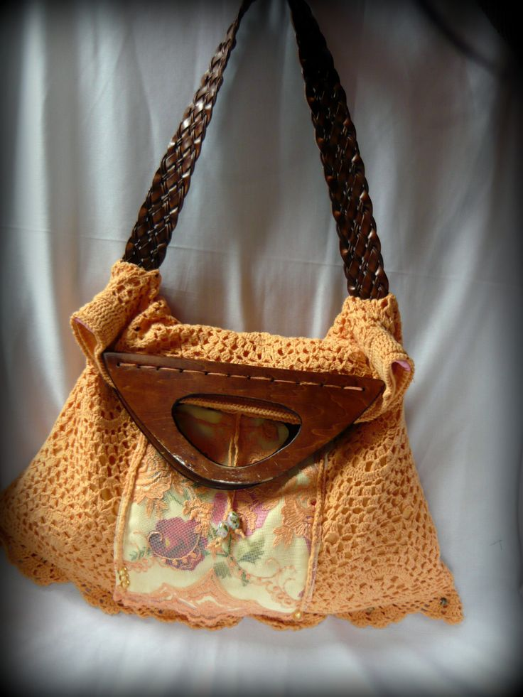 Handmade by Judy Majoros - Vintage crochet hobo bag. Embroidered shoulder bag. lace, leath strap, wood handles. Recycled bag