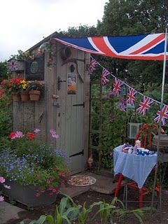 Jubilee Union Jack bunting on allotment shed