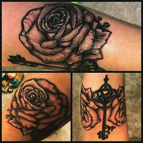 Roses and an antique key tattoo in black and grey #blackandgreytattoo #rosestattoo #antiquekey #antiquekeytattoo #traitionaltattoo Figure 8 Ink Studios offers excellent customer service designing unique and original tattoos reflecting the client's personality and style.