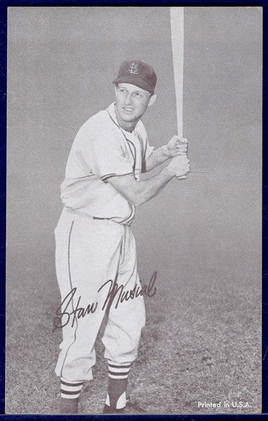1962 Exhibit Stat Back STAN MUSIAL St. Louis Cardinals Black Stats