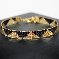 Bracelet tissé perles miyuki delica 11/0 doré gold filled et noir opack black - tendance minimaliste
