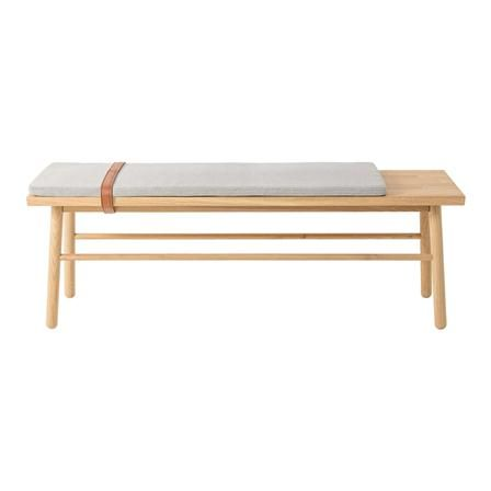 Straight Bench in Oak with Cushion & Leather Strap