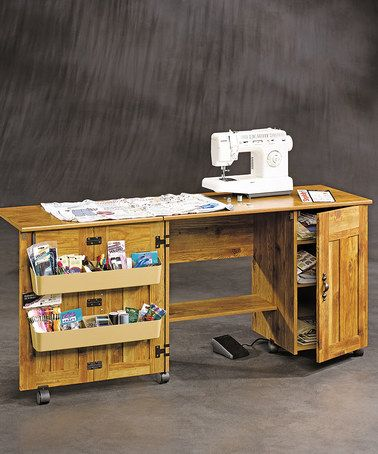 Sauder Sewing Craft Table   Bishop Pine   Sewing Furniture At Hayneedle