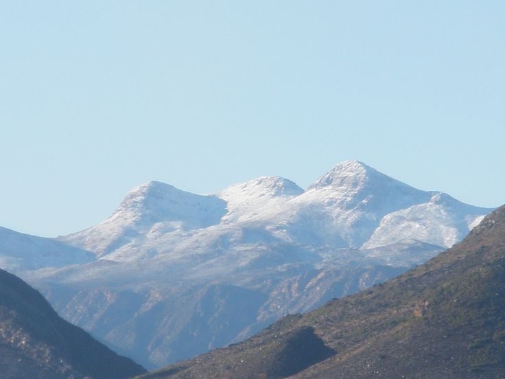 Snow on the Swartberg Mountains as seen from Karoo View Cottages