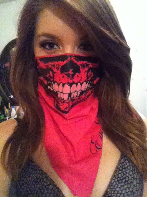 Fuchsia Neon Pink Bandana Skull Face Mask with Glow in the Dark Teeth