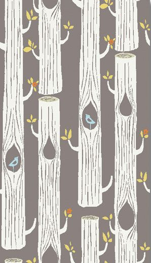 Trees in Brown from Circa 52 by Monaluna for Birch Fabrics- Fat Quarter