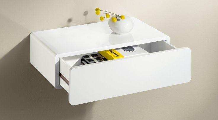 CASSY Wandregal mit Schublade | 50x25x13 cm | weiß hochglanz