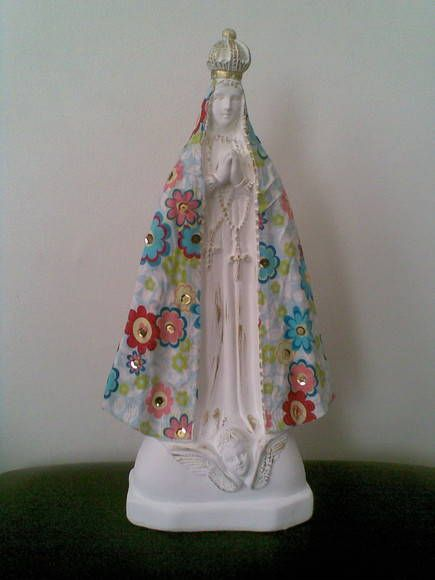 Nossa Senhora com decoupage em tecido