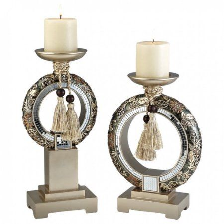 Farrah Traditional Candle Holder Set, Multicolor, Set of 2