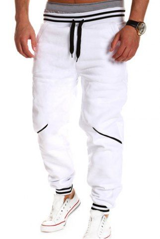 Loose Fit Stylish Lace-Up Button Embellished Rib Splicing Beam Feet Polyester Sweatpants For Men Men's Pants | RoseGal.com Mobile