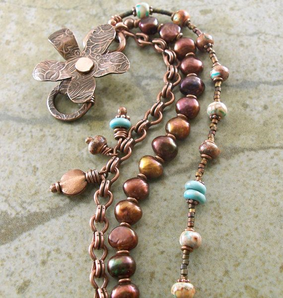 Copper Bracelet Flower Pearls Turquoise Lampwork by lunedesigns $48