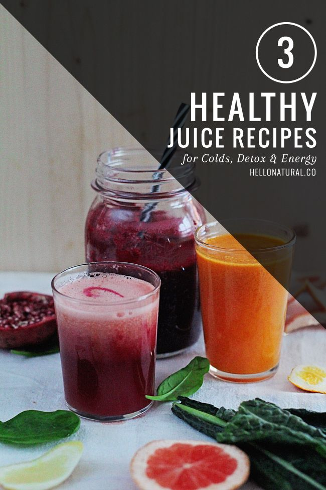 3 Healthy Juice Recipes for Colds, Detox and Energy | HelloNatural.co