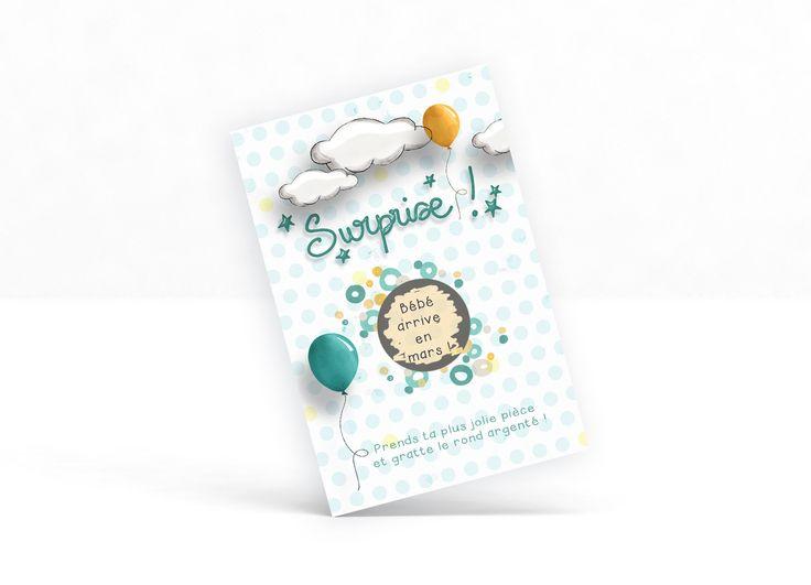 """Carte à gratter personnalisable  """"Surprise !"""" - annonce grossesse , heureux évènement, demande à la marraine, au parrain"""
