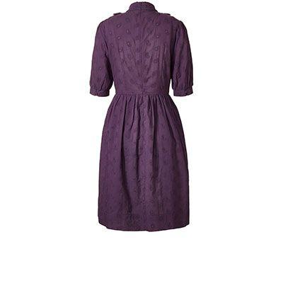 Orla Kiely | USA | Clothing | SALE - Dresses | Paisley Cotton Pinky Pin Tuck Dress (17RWPCT741) | Aubergine